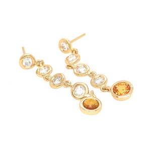 FAB DROPS 18K Yellow Gold Diamond and Yellow Sapphire Drop Earrings