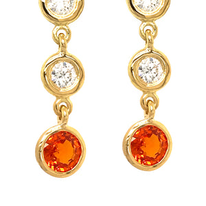 FAB DROPS 18K YELLOW GOLD DIAMOND AND CHAMPAGNE SAPPHIRE DROP EARRINGS
