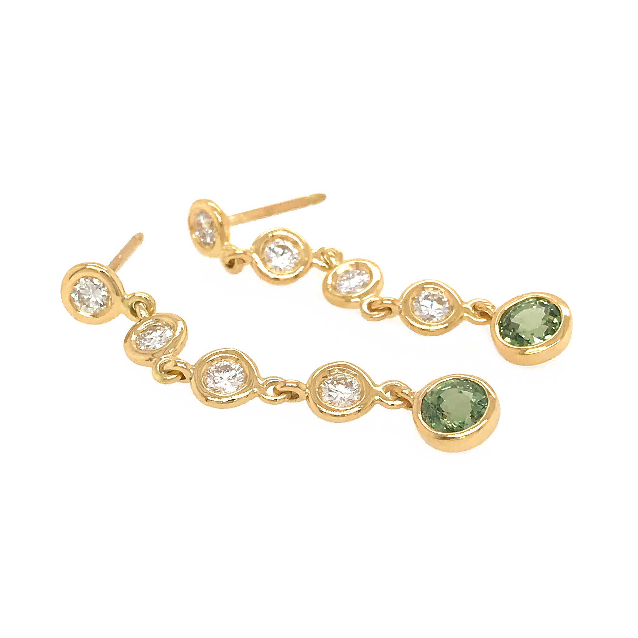 FAB DROPS 18K YELLOW GOLD DIAMOND AND GREEN SAPPHIRE DROP EARRINGS