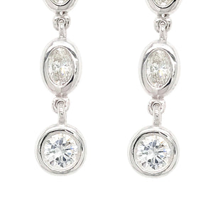 FAB DROPS 14k White Gold Oval and Round Diamond Drop Earrings