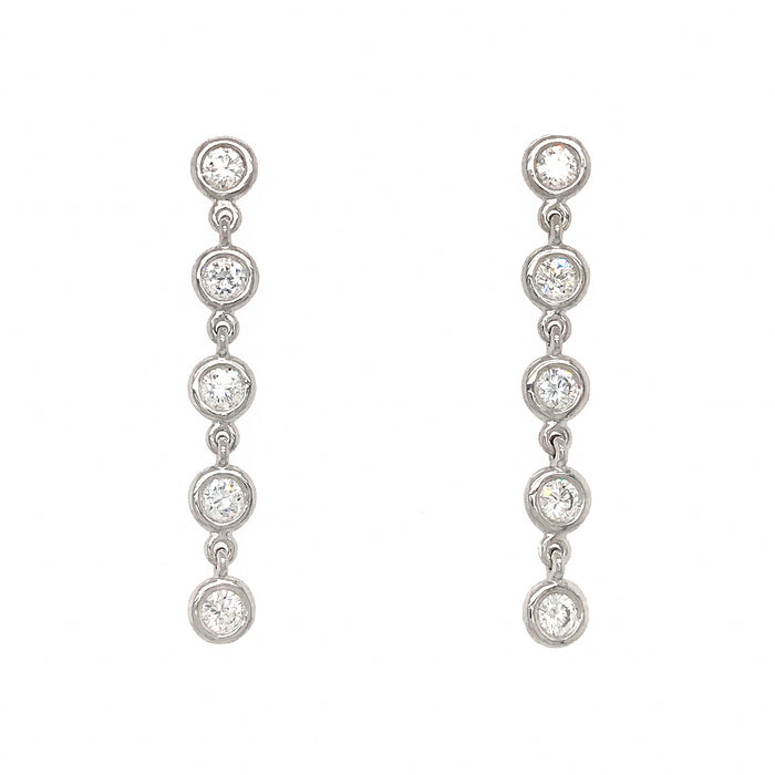 FAB DROPS 14K White Gold Diamond Dangle Earrings