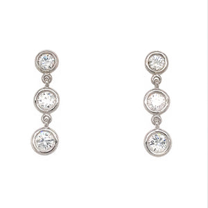 Fab Drops 14k White Gold Diamond Drop Earrings