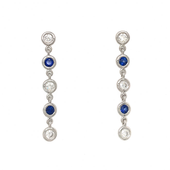 Fab Drops 14k White Gold Diamond and Sapphire Drop Earrings