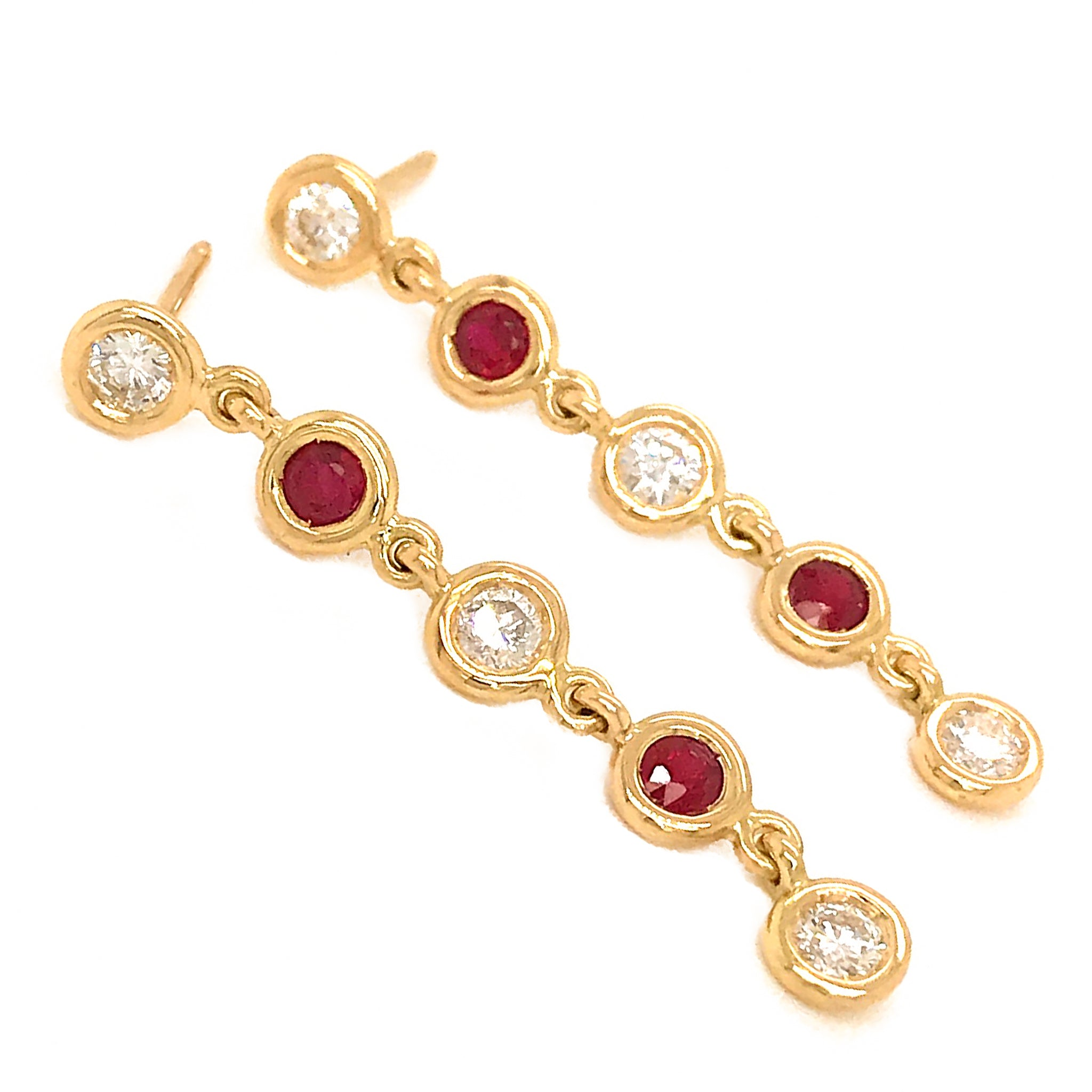 FAB DROPS 18K Yellow Gold Ruby and Diamond Drop Earrings