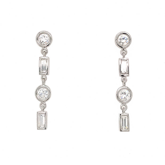 FAB DROPS 14k White Gold Round and Baguettes Diamond Drop Earrings