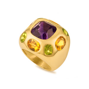 Chanel 18K Yellow Gold Amethyst, Citrine and Peridot Ring Size: 4