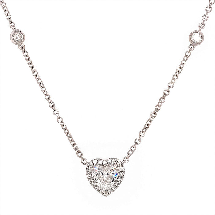 GIA Certified Heart Shaped Diamond Pendant with Diamond by the Yard Chain Necklace