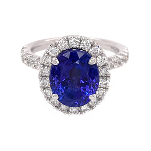 Henri Daussi Platinum Dazzling Tanzanite and Diamond Ring