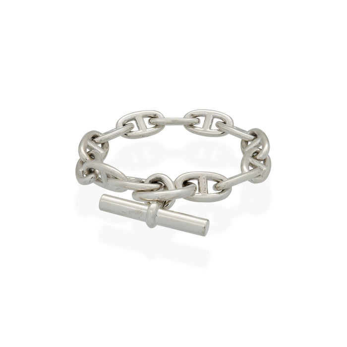 Hermes Sterling Silver Chaine D Ancre Bracelet Length: 8.5""