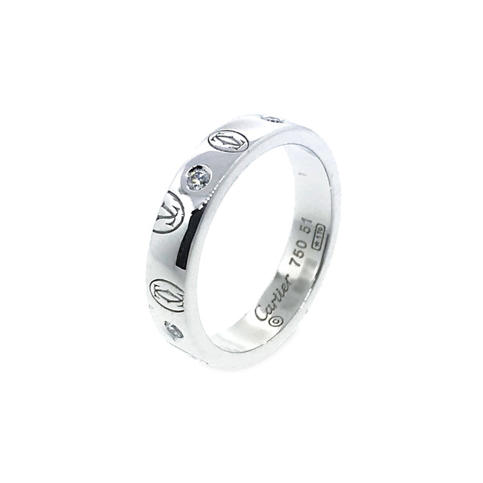 Cartier 18K White Gold Happy Birthday Diamond Ring Size: 5.75