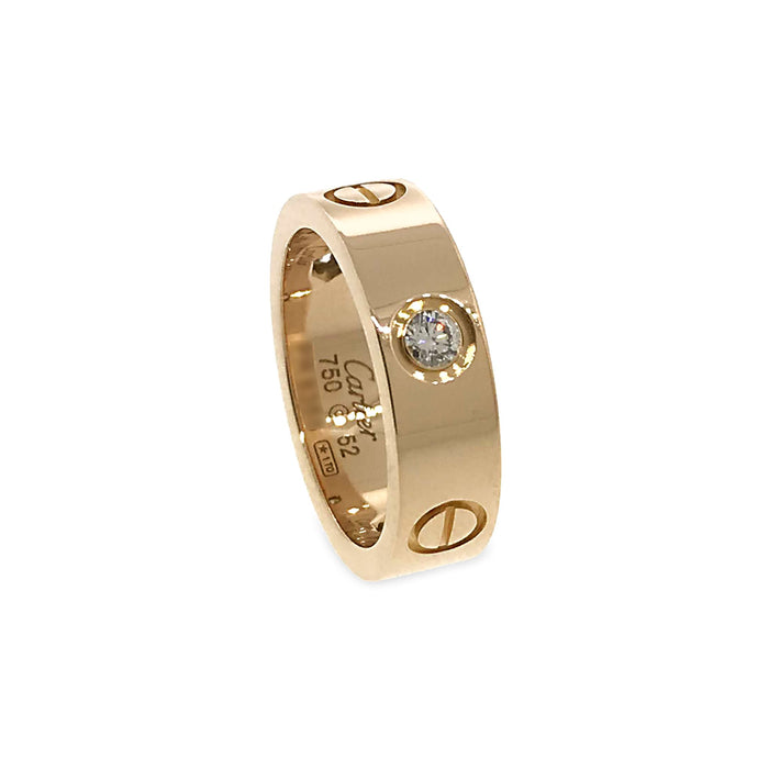 Cartier 18K Pink Gold 3 Diamonds Love Ring Size: 6