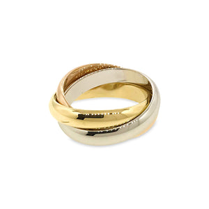 Cartier 18K White , Yellow , Rose Gold Trinity Ring Size: 6