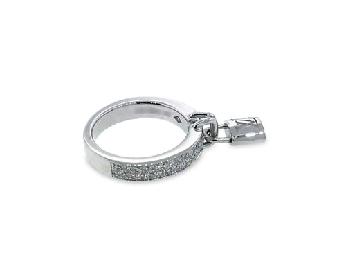 Louis Vuitton 18K White Gold Berg Lockit Diamond Ring Size: 4.75
