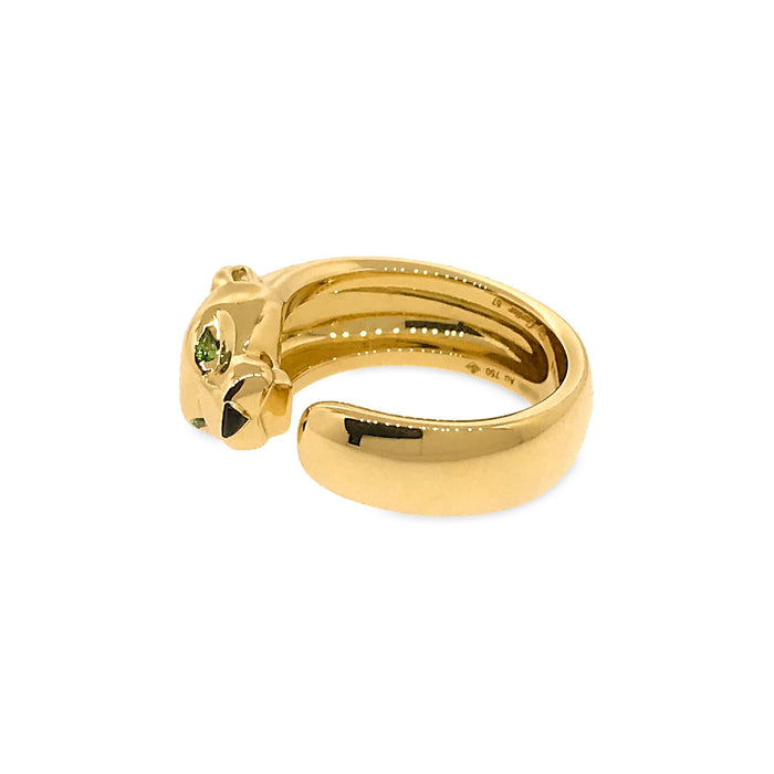 Cartier 18K Yellow Gold Panthere De Cartier Onyx and Tsavorite Garnet Ring Size: 8
