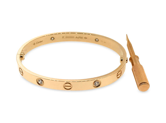 Cartier 18K Rose Gold with 4 Diamonds Love Bracelet Size: 17cm