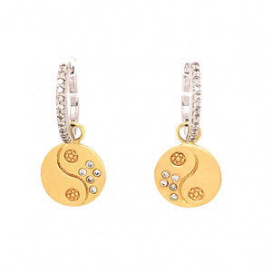 Meira T 14k Two-Tone Gold Diamond Hoop and Charm Earrings