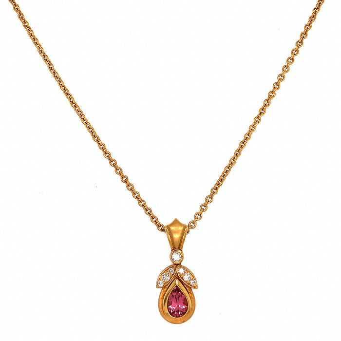 DeMerini Pink Tourmaline and Diamond Pendant Necklace