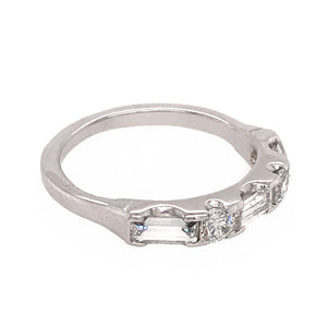 14k White Gold Baguette and Round Band Ring