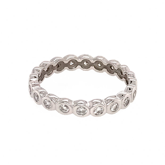 Bezel Set Diamond Eternity Band Ring 14k White Gold