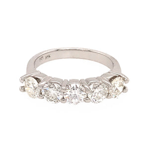 14k White Gold Shared Prong 5 Stone Diamond Band Ring