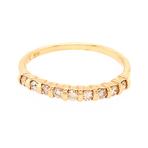 14k Yellow Gold 9 Stone Diamond Bar Set Band Ring