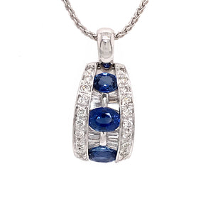 Beautiful 18k White Gold Sapphire and Diamond Pendant Necklace