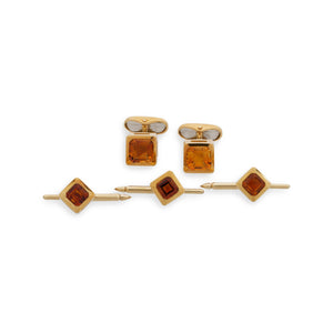 Cartier 18K Yellow Gold Smoky Topaz Cufflinks and Shirt Studs Set