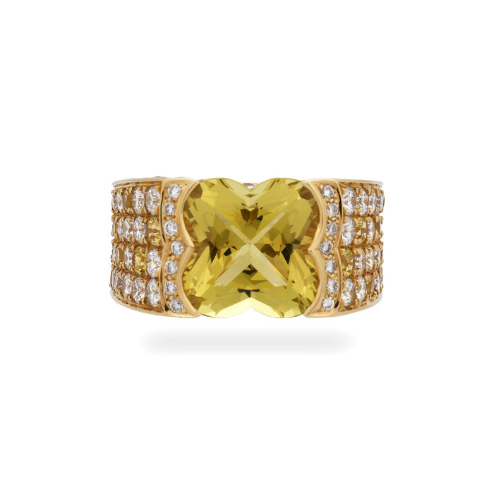 Mauboussin 18K Yellow Gold Yellow Sapphire and Diamond with Yellow Beryl Center Stone Ring