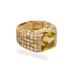 Mauboussin 18K Yellow Gold Yellow Sapphire and Diamond with Yellow Beryl Center Stone Ring Size: 6