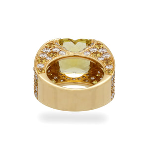 Estate Mauboussin 18K Yellow Gold Yellow Sapphire and Diamond with Yellow Beryl Center Stone Ring