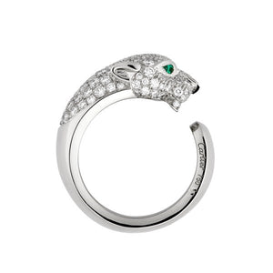 Cartier 18K White Gold Panthere Diamond with Emerald Eyes and Onyx Nose Ring