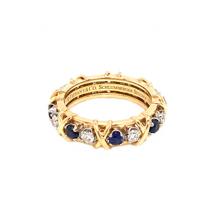 Tiffany and Co. Schlumberger Diamond and Sapphire Eternity Ring