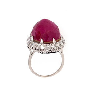 Estate Platinum Ruby and Diamond Ring