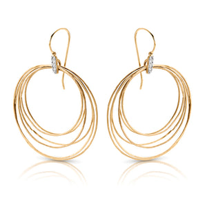 14k Gold and Diamond Hoop Circles Earrings