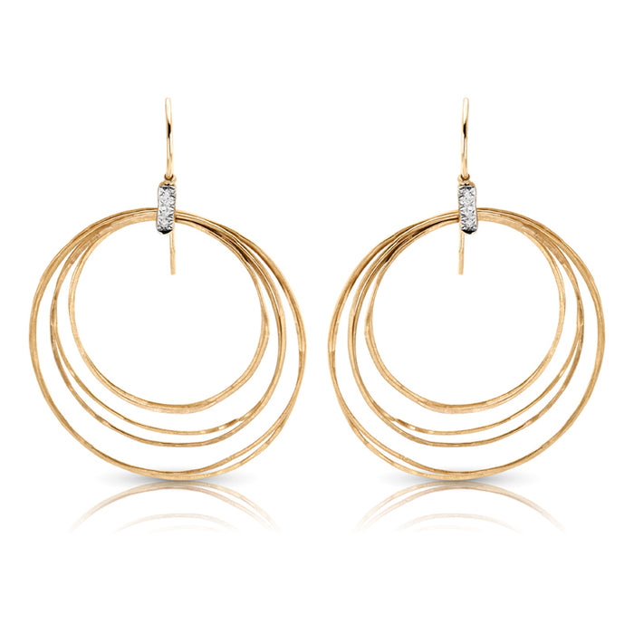 Unique 14k Gold and Diamond Hoop Circles Earrings