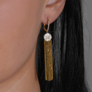 Dramatic 14k Gold and Diamond Tassel Earrings