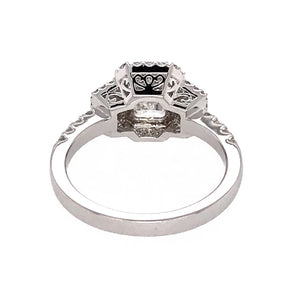 GIA Certified 18k White Gold Emerald Diamond Engagement Ring