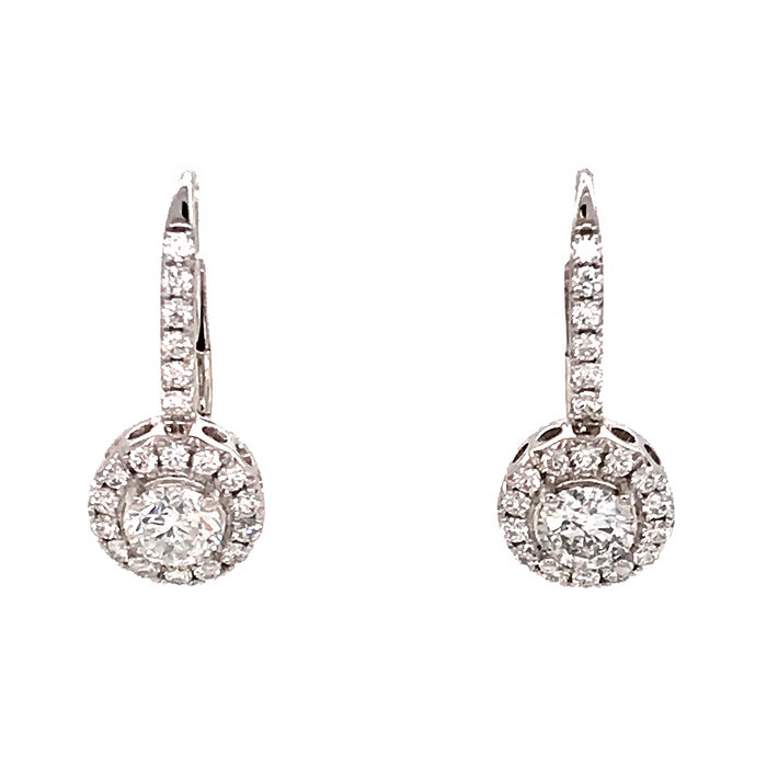 French Back White Gold Diamond Drop Earrings