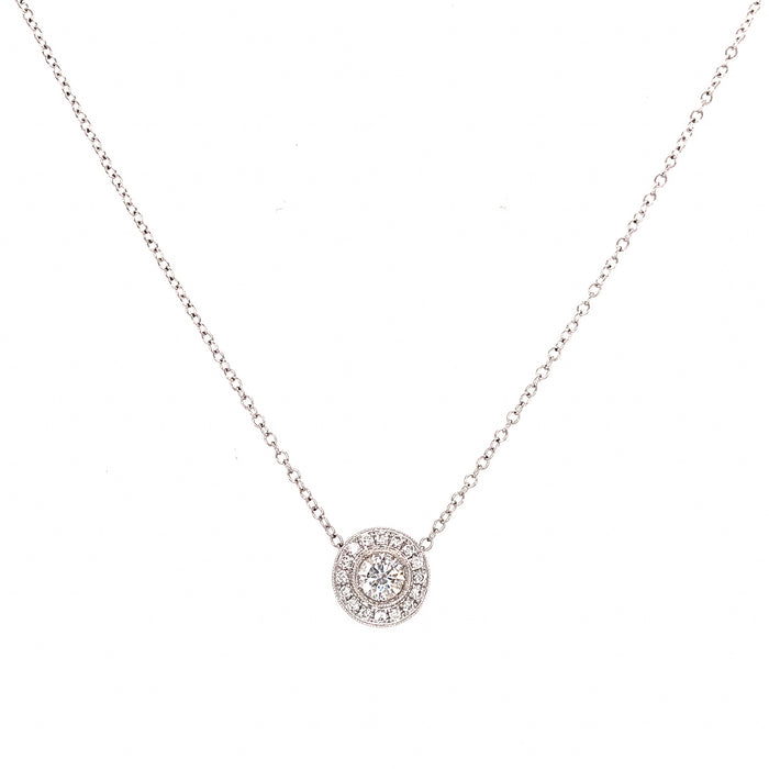 Diamond Pendant Necklace 18K White Gold Round 0.47 carat