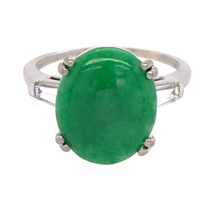 Platinum Jade and Diamond Baguettes Ring
