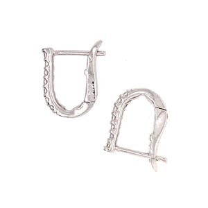 Understated Conservative 14k White Diamond Hoop Earrings