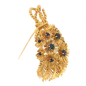 Rare Tiffany and Co. Vintage 18k Yellow Gold Sapphire Bouquet Brooch