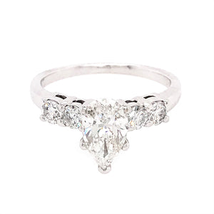 Stunning 14k White Gold Pear Shaped 1.25 Carat Diamond Engagement Ring