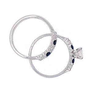 18k White Gold Sapphire and Diamond Wedding Set
