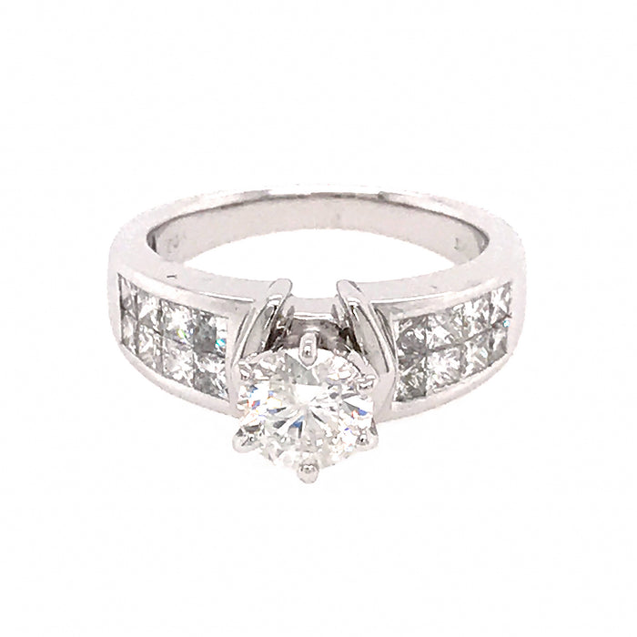 14k White Gold Round and Princess Cut Diamond Engagement Ring