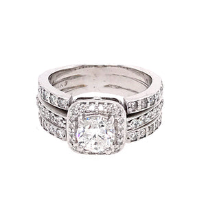 1.00 Carat Round Diamond Engagement Ring Wedding Band Combination in 14k White Gold