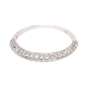 Elegant 18k White Gold Knife Edge Diamond Band Ring