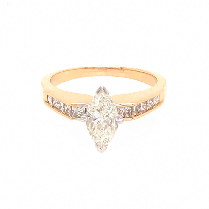 14k Yellow Gold 1.00 Carat Marquise Cut Diamond Engagement Ring