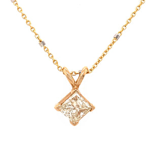 Princess Cut 0.70 carat Diamond Pendant Necklace