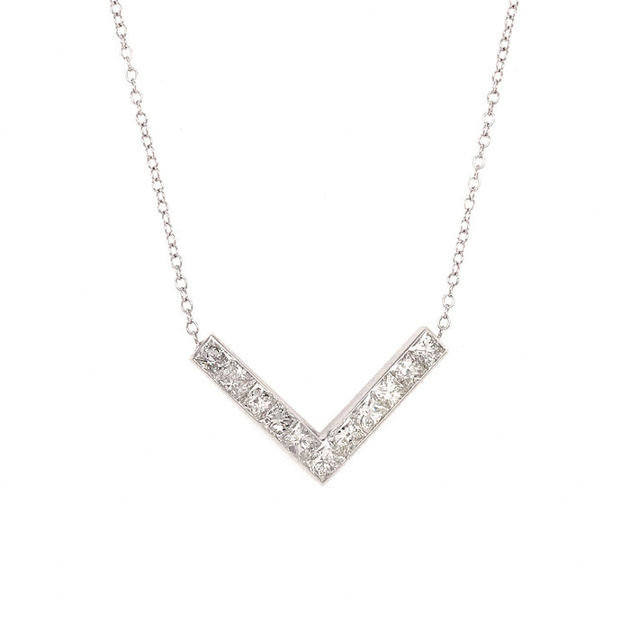 14k White Gold V Shaped Diamond Necklace